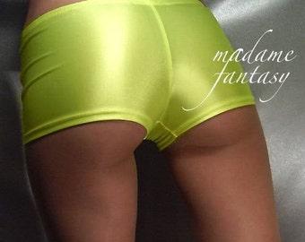 Neon Yellow spandex micro shorts hot pants