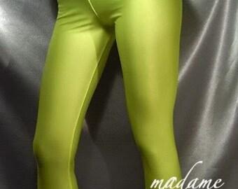 Neon Yellow shiny spandex leggings