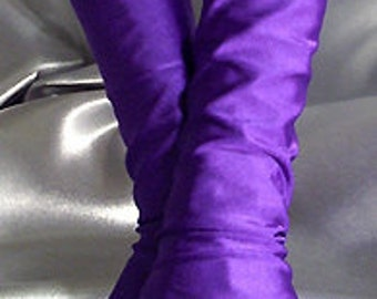 X Long purple spandex fingerless gloves Arm warmers