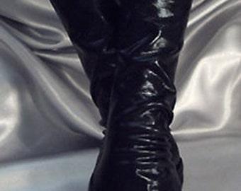 X Long black wet look fingerless gloves Arm warmers