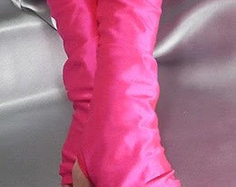 XX Long spandex fingerless gloves Neon Pink