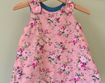 Baby girls' pink, floral,  A-line dress. Size 3-6 months