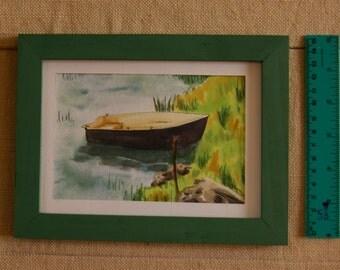Black boat - Watercolor Painting - ORIGINAL signed