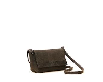 Leather cross body purse - leather purse - leather cross body bag - nubuck leather brown bag