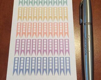 50 Cute Pastel Color Palette Skinny Flags with Check Boxes for Passion Planner,Erin Condren