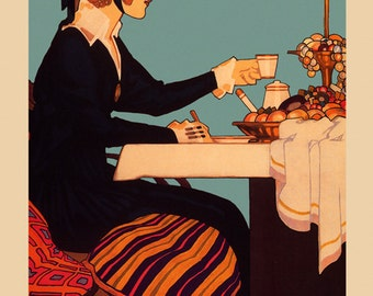 Coffee Tea Cafe Fashion Lady American Vintage Poster Repro FREE SHIPPING in USA