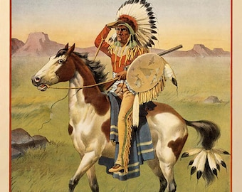 Buffalo Bill Indian Horse Pinto Buffalo Bill's Wild West American Show Vintage Poster Repro FREE SHIPPING in USA