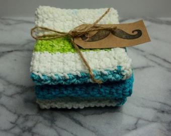 Hand Crocheted Cotton Dishcloths - Set of 3