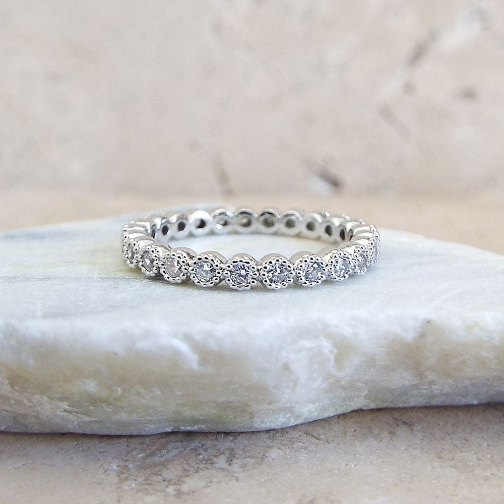 Full Bands: 2 Mm Full Eternity Band MILGRAIN Bezel CZ Wedding By