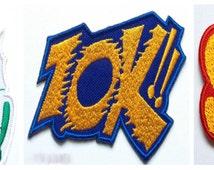 Batman Patch ZOK!! BAM! Sock! (Set of 3) Embroidered Iron / Sew on Badges Patches Applique Motif Adam West Bat-Man Retro Boy Wonder