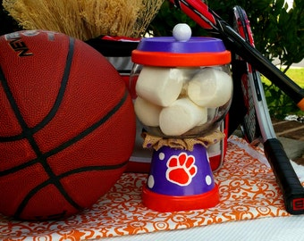 Clemson Gumball Jar, Treat Jar, Candy Dish, Gumball Candy Jars, Clay Pot Candy Dishes