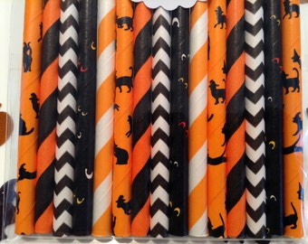 Kitty Cat Straw Variety Mix. cat straws. paper straws. halloween straws. halloween decor. lollipop sticks. black straws. black and orange
