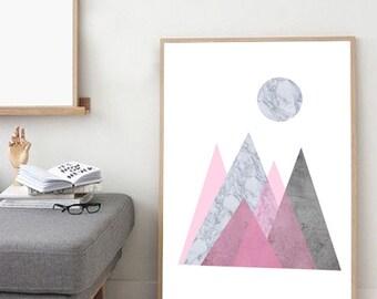 Extra Large Marble print, Marble poster, Mountain Print, Large wall art, Pink print, Minimalist poster, Scandinavian poster, Geometric print
