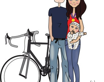 Cartoon family portrait and hobbies