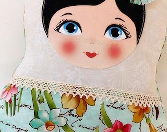 "Babushka matryoshka softie plush doll pillow gift, large, 42cm/16.5"" tall, floral style"