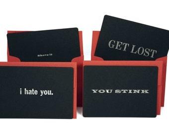 Letterpress Harsh Cards Set of 4 with Envelope (Stink Set)