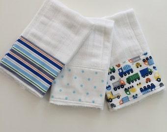 Trucks, stripes & polka dots baby burp cloths