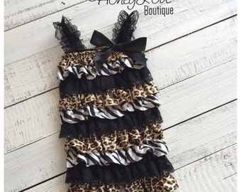 Animal Print, Zebra, Leopard & Black Lace Petti Romper, pettiromper, photo prop, special occasions, smash cake, 1st First Birthday outfit