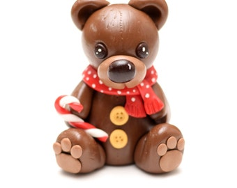Fondant Holiday Christmas Bear Cake Topper