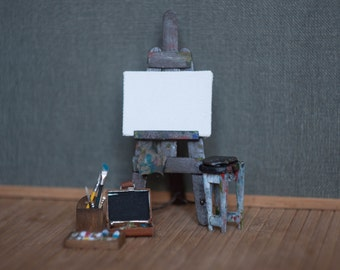 Miniature Artist Easel 1:12 - Dollhouse miniature