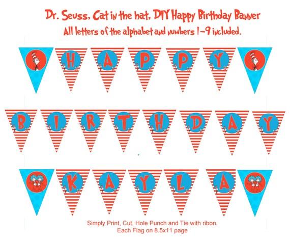 Cat Birthday Banner: Dr. Seuss Cat In The Hat DIY Happy Birthday Banner Happy