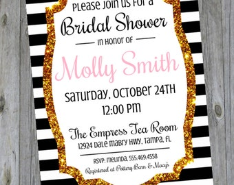 Bridal Shower Invitation - Chic Black and Gold - Stripes