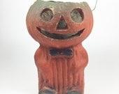 Vintage Halloween Paper Mache Pumpkin Man with Bow Tie & Shoes.