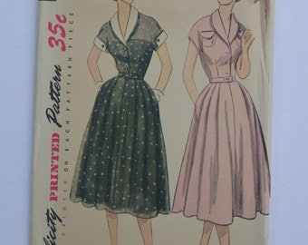 Vintage Sewing Pattern Simplicity 3619 Women's Dress 1950's Retro Style