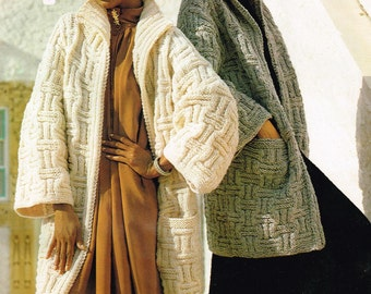Vintage Women's Knitting Pattern - Ladies coat or Jacket - Sweater - 70's 80's - instant download PDF