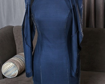 Joseph Ribkoff blue/silver metallic gala dress