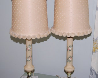 Vintage Porcelain and Marble Lamps with painted flowers and Pom Pom Lamp Shades