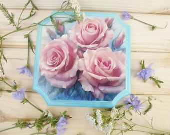 Gift for women Decor Living room Decor Wall Panels with rose Wooden Panels decorative panel wall hanging picture on the wall pink roses