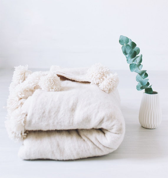 Moroccan Pom Pom Blanket Cream Wool Throw Berber Bohemian