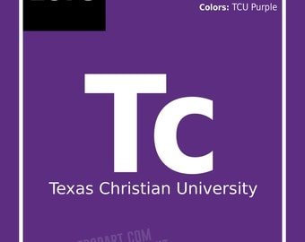 """TCU Horned Frogs   Chemistry Style """"Periodic Element"""" Print - 11x14   Perfect for College Football Fans, Alumni or a Graduation Gift"""