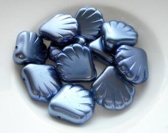 Czech Glass, Scallop Beads, scallop shell beads, blue scallop beads, Precosia Czech Glass beads, Czech Glass Blue Scallop Beads