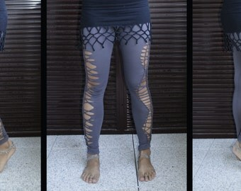 Tribal Legging grey Shredded cutted
