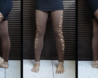 Tribal Legging brown Shredded cutted