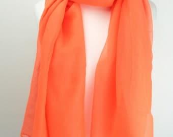Plain Neon Orange Coloured Scarf/Wrap/Shawl/Cover Up/Sarong/Over Size/Acid