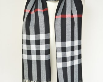 Black Tartan Plaid Check Scarf/Wrap/Shawl/Cover Up/Sarong/Over Size
