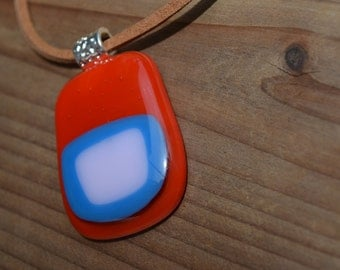 Red, Blue and Light pink Fused Glass Pendant