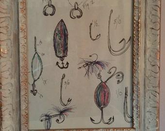 Guy Art- Fishing Lure Diagrams Hand Drawn