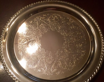 """Wm Rogers 8"""" Round Silver Plated Serving Tray"""