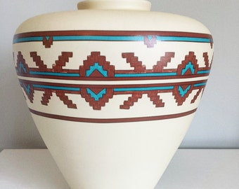 Southwestern Pottery, Navajo Pottery, Big Vases, Portugal Pottery, Aztec Decor, Navajo Decor Navajo Print, Turquoise Vase Southwestern Print