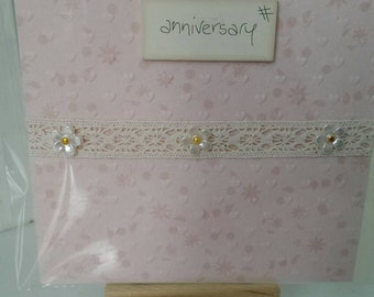 Anniversary Greetings Card, Wooden detailing with blank insert