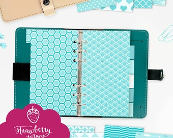"Planner dividers personal: ""AQUA BLUE"" 