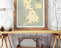United Kingdom National Parks Map, United Kingdom Map, Explorer map print, vintage national park