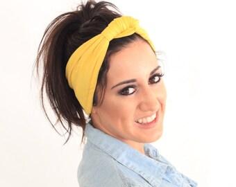 Yellow knot turban, turban headband, fabric headband, fashion headband.