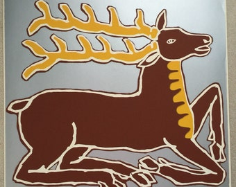 Vintage Stag Screenprint by Gail Holliday, 1972 - Limited edition in metallic silver ink