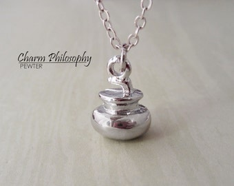 Curling Stone Necklace - Rhodium Plated Jewelry