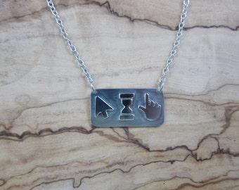 Handmade Sterling Silver Computer Cursor Symbol Necklace